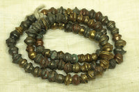 Vintage irregular bicone Brass/Bronze Beads from India