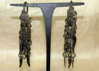 Pair of Fancy Antique Hmong Silver Earrings
