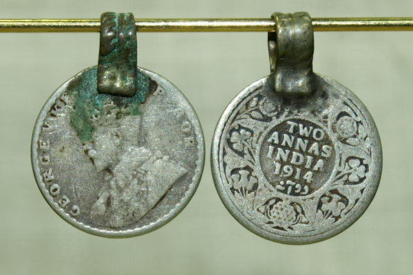 Antique Silver Annas Coin Pendant
