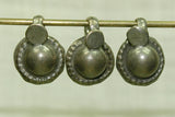 Antique coin silver domed dangle, fluted edge, and fancy flower