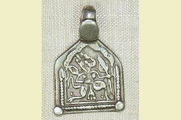Old Silver Hanuman Amulet from India, N