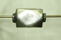 Large Silver Cornerless Cube Bead from India