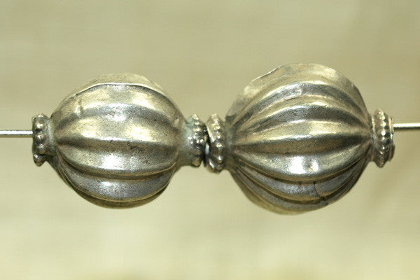 Vintage Fluted Silver Bead from India