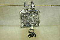 Antique Silver Peacock Prayer Box Pendant from India