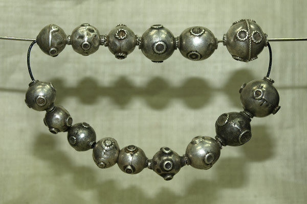 Strand of Old India Coin Silver Beads
