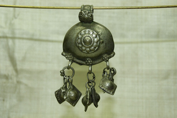 Very Cool India Coin Silver Pendant with dangles