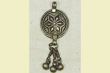 Old India Coin Silver Star Pendant