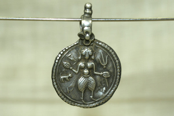 Silver SHiva Hindu Amulet from India