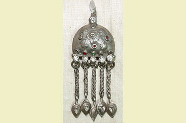 "Old Coin Silver Pendant with Dangling ""Daggers"""
