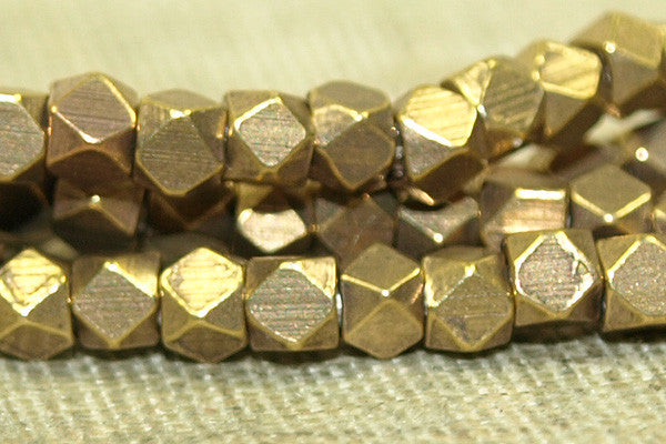 Tiny 2mm Brass Cornerless Cube Beads from India