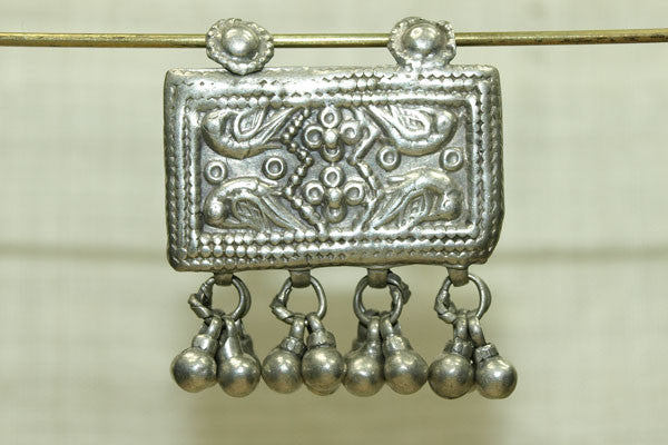 SILVER ORNEMETAL BOX WITH DANGLES, INDIA