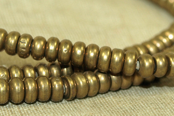 4mm Rounded Dark Brass Heishi Beads from India