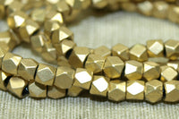 Small 3mm Cornerless Cube shiny Brass Beads from India