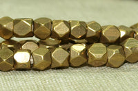 Small 4mm Brass Beads from India; Conerless Cubes