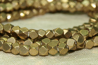 Small Cornerless Cube dark Brass Beads from India