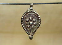 Antique Coin Silver Floral Pendant from India