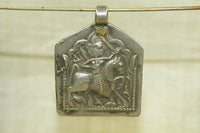 Large Old Silver Rajasthani Hero Amulet from India