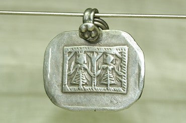 Old Silver Diety Amulet from India