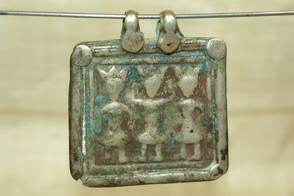 Very Worn, Old Silver 3 Deities Pendant from India