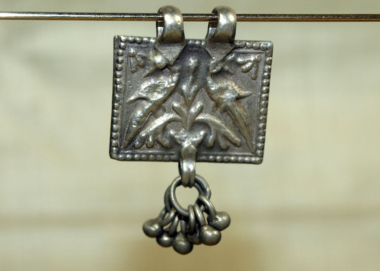 Small Old Silver Pendant from India, 2 Birds