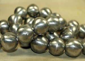 Strand of Round Silver Tone Beads from Mali