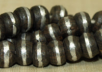 Strand of Small Ebony Wood Beads with Aluminum Inlay