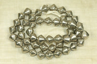 Silver Toned Hollow bicone Beads from Mali