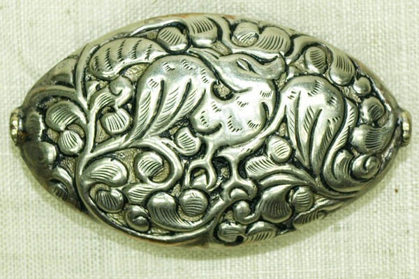 New Silver Oval Bead from Nepal, Bird