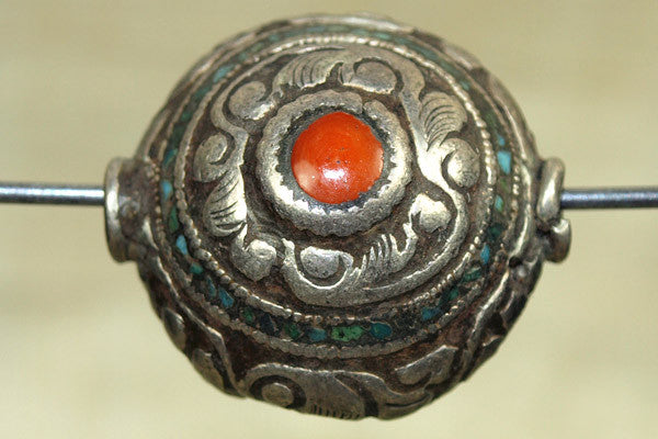 Nepalese Repousse Sterling Bead with coral and Turquoise