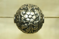 Sterling Silver Floral Bead from Tibet