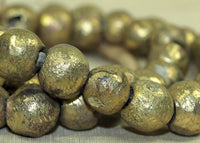 Strand of Rough Cast Round Brass Beads from Nigeria