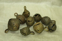 Set of nine Large Ugly Nigerian Brass Bells
