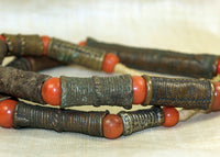 Strand of Antique Cast Bronze Tubes from Nigeria