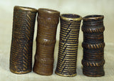 Set of Four of Antique Cast Bronze Tubes from Nigeria