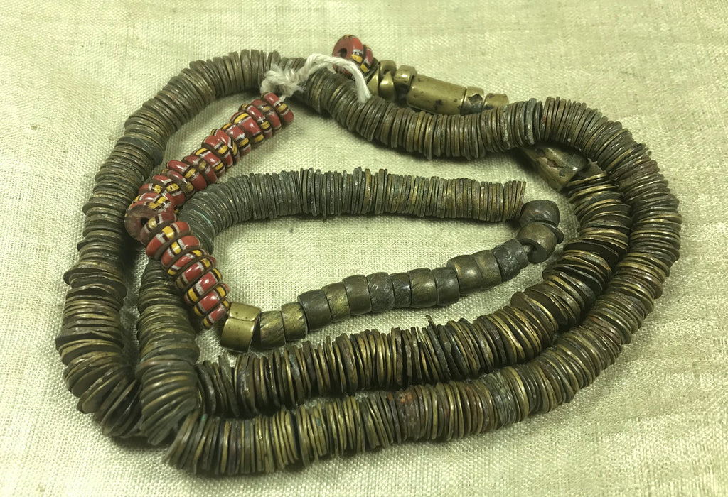 Strand of Antique Bronze Eja Beads from the 1800s