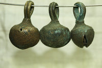Set of three Unusual Nigerian Brass Bells