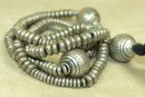 Necklace of Antique Silver Heishi and Beads from Ethiopia