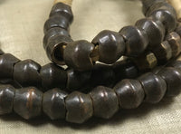 Strand of Antique Heavy Dark Bronze Bicone Beads from Cameroon
