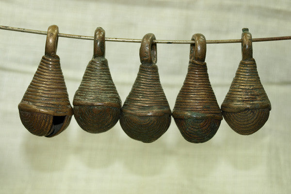 Set of Nigerian Brass Bells With concentric circle patterns