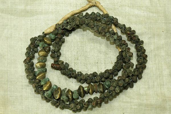 Strand of Antique Brass Ibo Beads from Nigeria