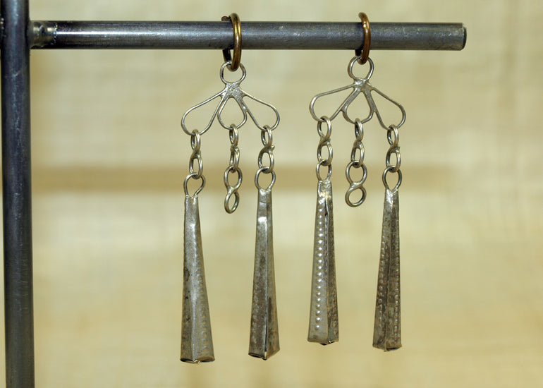 Vintage Thai Silver Dangles, Pair