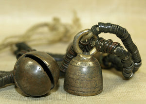 Thai-Burmese Bronze Heishi Strand with FOUR Big Bells
