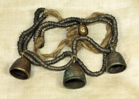 Thai-Burmese Bronze Heishi Strand with Trio of Big Bells!