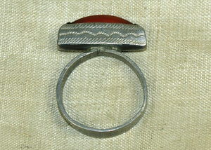 Tuareg Silver Hair Ring with Carnelian Setting