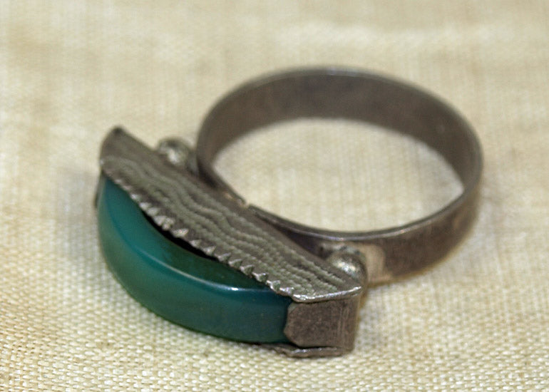 Tuareg Ring with Green Agate Stone
