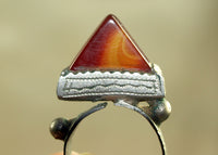 Tuareg Hair Ring with Carnelian Stone
