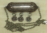Large Vintage Silver Capsule Pendant on a chain from Yemen