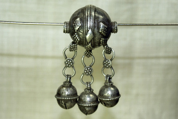 Antique Silver Bead with Bells from Yemen