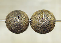 Textured, Fabrictaed Brass Beads from Nigeria