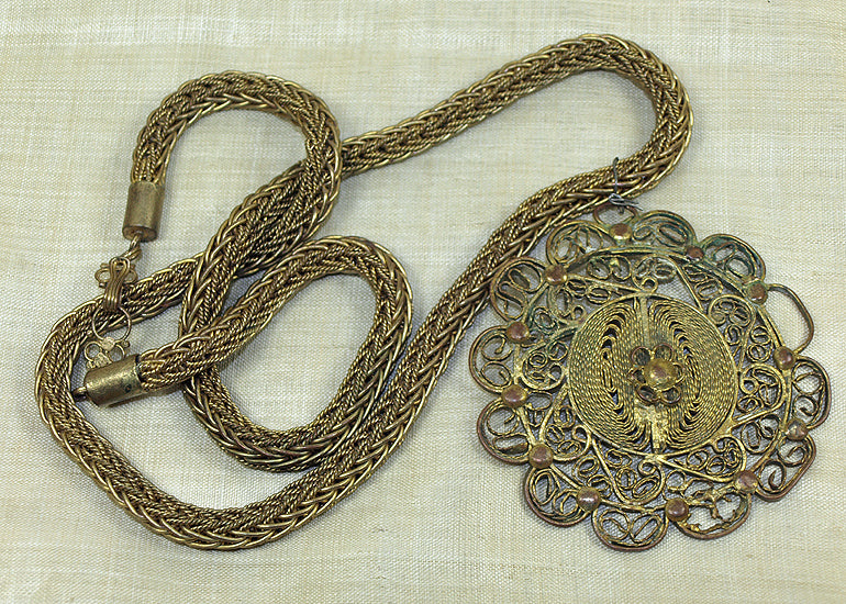 Vintage Yoruba Brass Necklace and Pendant!